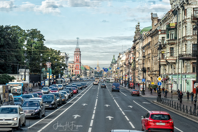 Nevsky Prospekt, the famous Shopping street in St Petersburg Russia