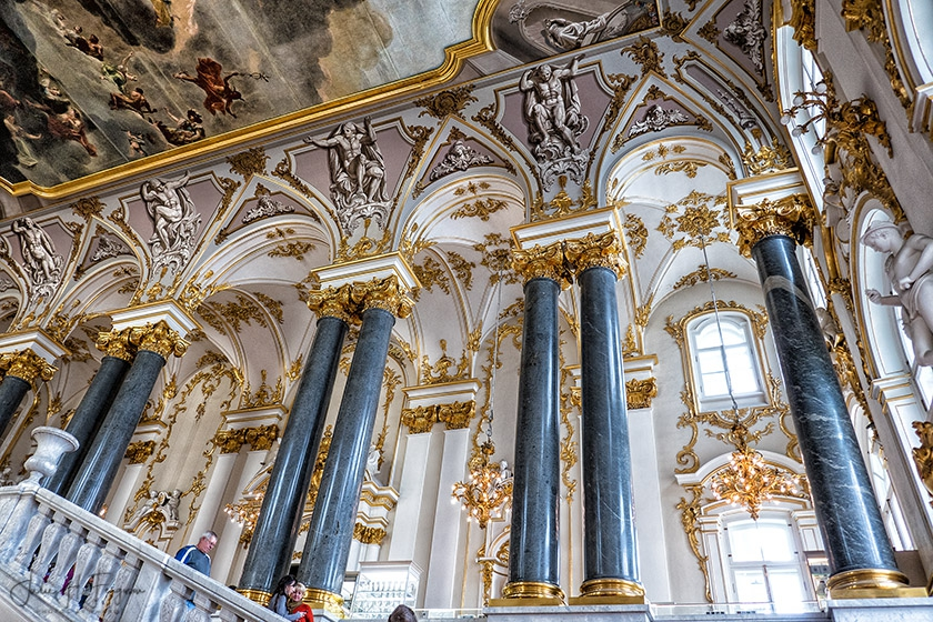 Grand staircase at the Hermitage in St. Petersburg, Russia