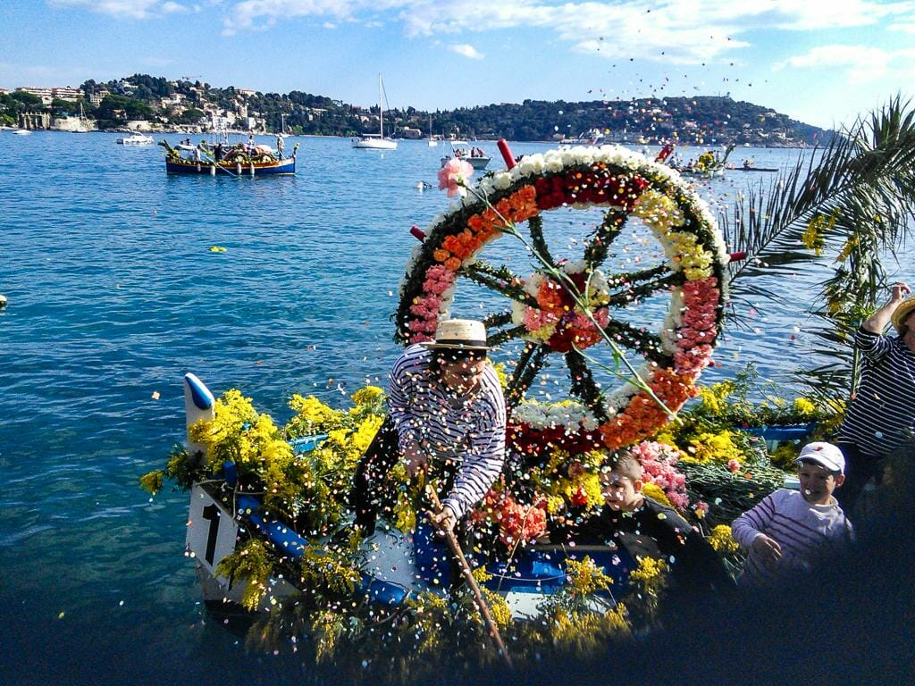 Colorful Battle of the Flowers in Villefranche-sur-Mer