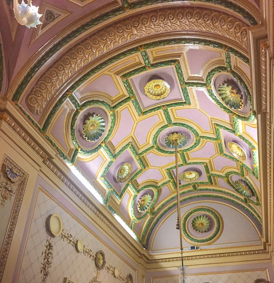 Pink and Green ceiling fresco at the Fattori Civic Museum in Port Livorno