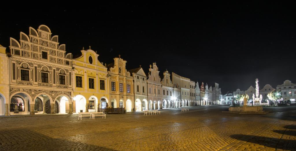 Historic Telc, a UNESCO Site in Czech Republic at night