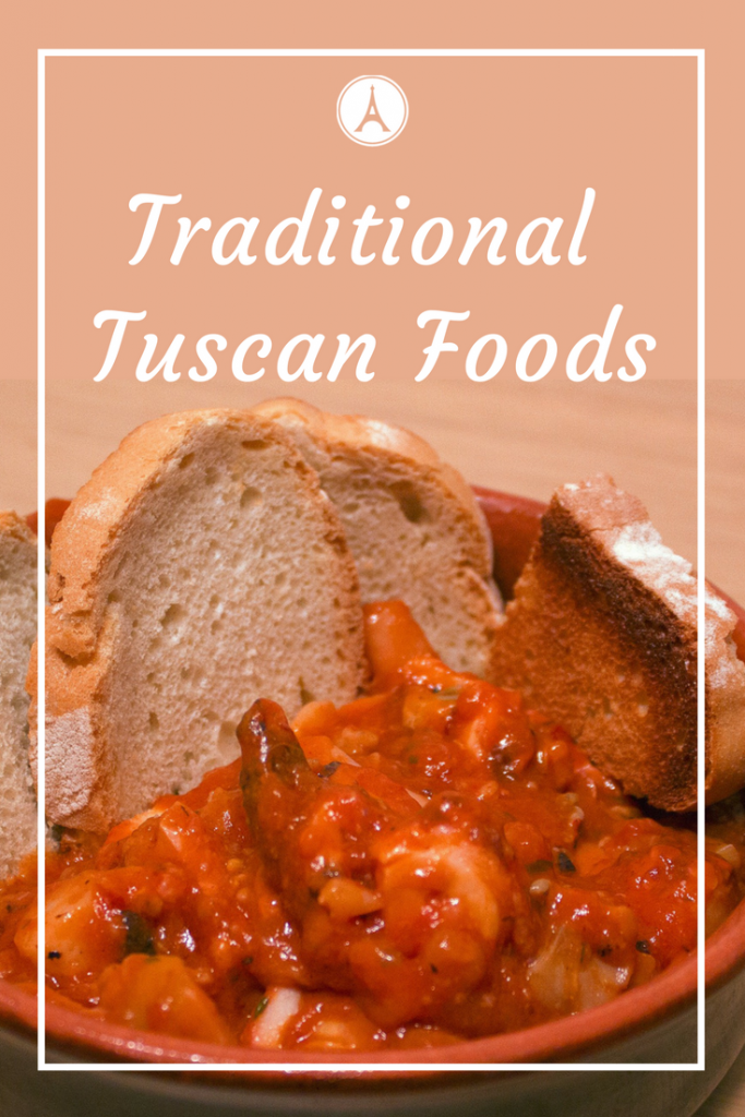 Traditional Tuscan Food - Fresh Seafood Stew with Tomatoes and Garlic Bread