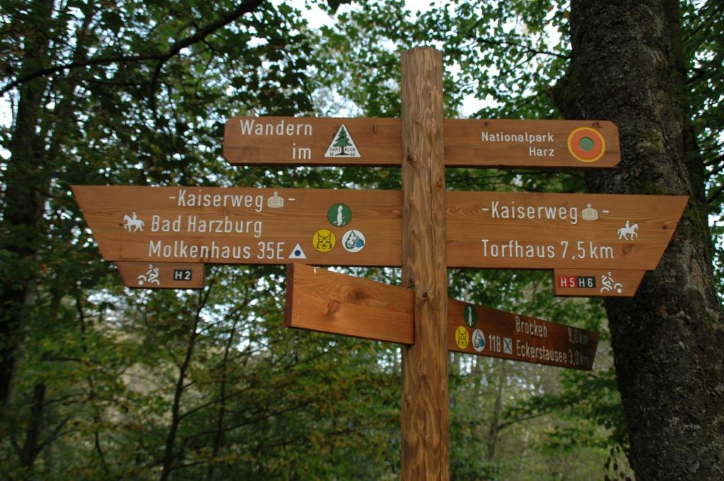 Hiking Trails Signs in Harz Germany