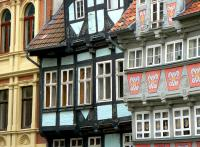 Half-timbered houses in Harz Mountains Germany Quedlinburg