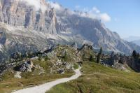 Hiking the Dolomites - Alta Via 1 Trail near Nuvolau