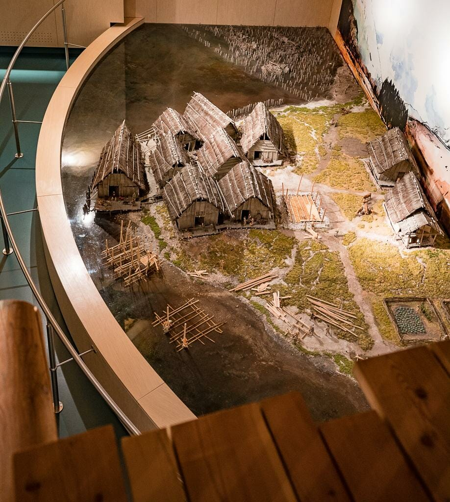 Birds-Eye View of Model of Pile Dwelling Settlement in Fiavé - UNESCO World Heritage Site - Prehistoric Pile Dwellings around the Alps Museum in Fiavé Trentino Italy