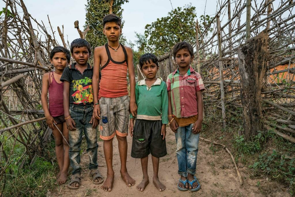Group of Village Children living in Buffer Zone of Bandhavgarh National Park - National Park Bandhavgarh - Wildlife Conservation in India - Pugdundee Safaris - Bandhavgarh Safari