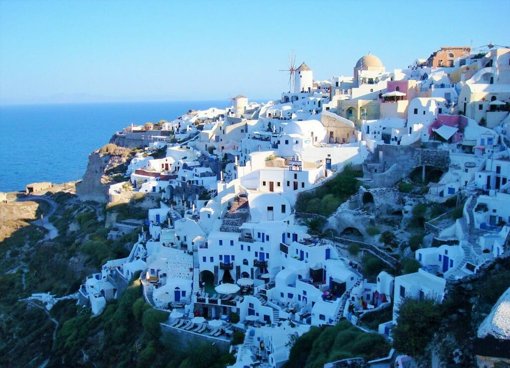 A view of the white city from the Santo Winery on Santorini Day Tours
