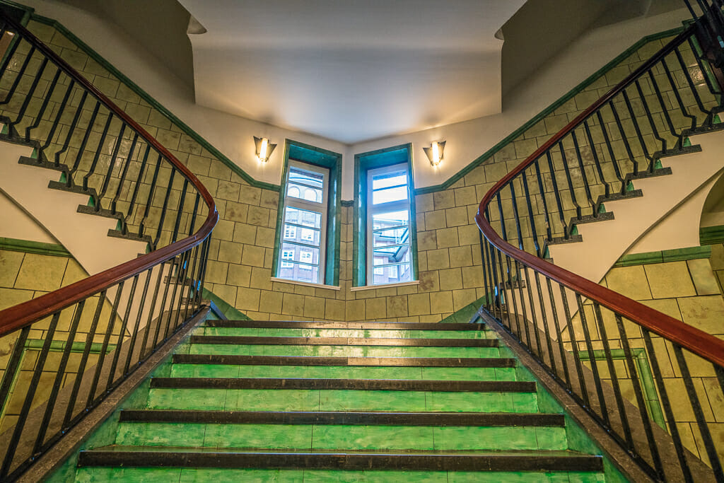 Staircase in Chile Haus in Kontor District Hamburg - UNESCO World Heritage Site - Things to do in Hamburg