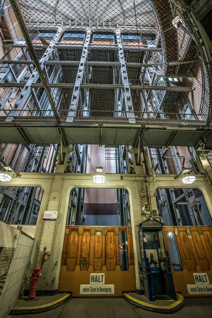 Car elevators in the old Elbtunnel in Hamburg - things to do in Hamburg
