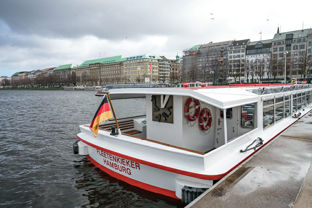 Red White colored Tourist Ship on Alster River in Hamburg - Best Things to do in Hamburg