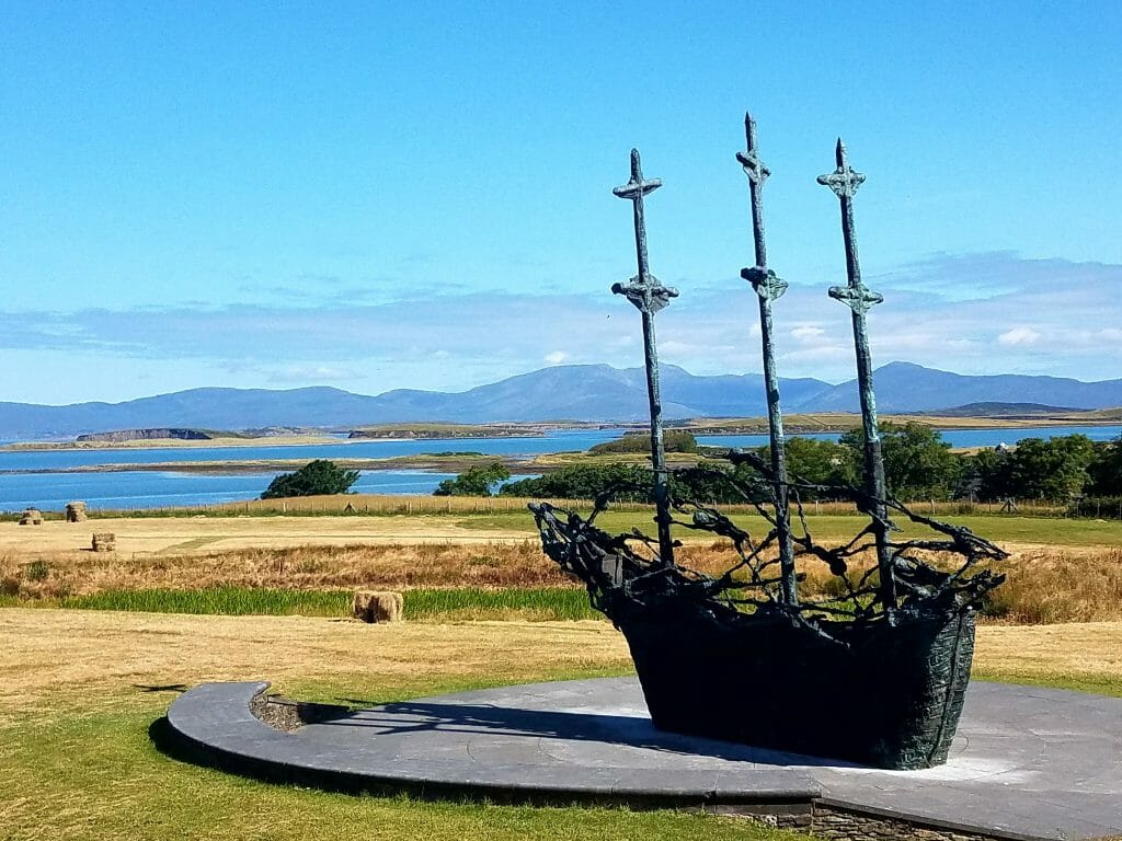 Before Climbing Croagh Patrick you can see The National Famine Memorial, a statue of a three mast ship facing the ocean