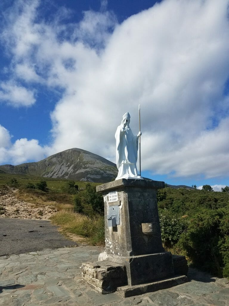 Before Climbing Croagh Patrick there is a statue of St. Patrick