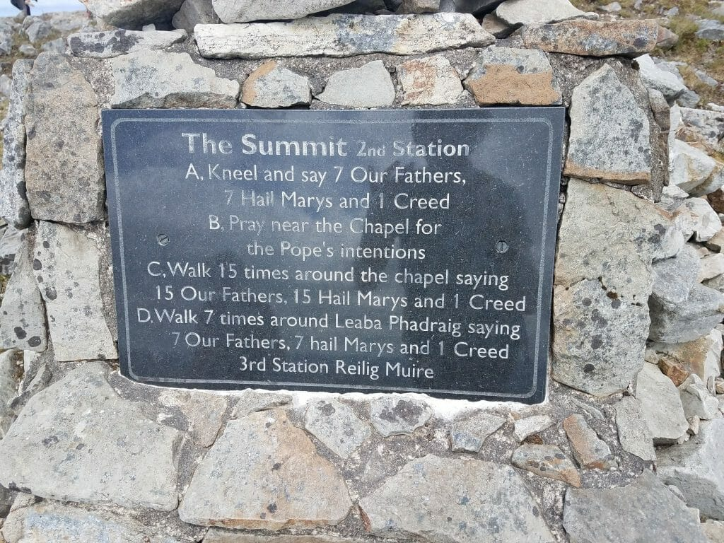 The Summit 2nd Station instructions for the religious Climbing Croagh Patrick