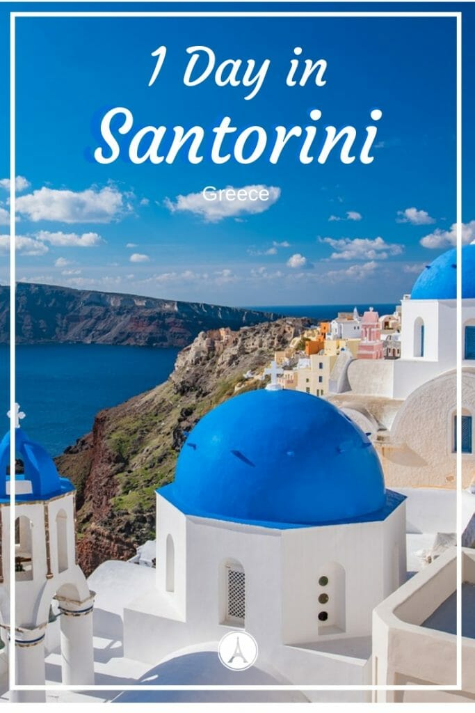 Famous blue domed church in Oia Santorini overlooking the Mediterranean Sea - 1 Day Trip To Santorini