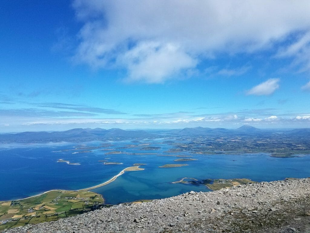 View of islands in Clew Bay to the north after Climbing Croagh Patrick