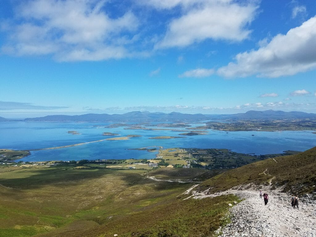 View of Clew bay from the north side of Croagh Patrick Ireland