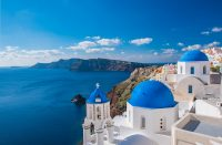 1 Day in Santorini - View over Church and Mediterranean Sea
