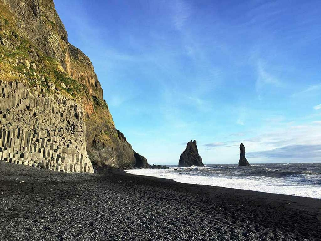 Black Sand Beach with basalt columns in the back - Vik Black Sand Beach Iceland Game of Thrones Film Locations