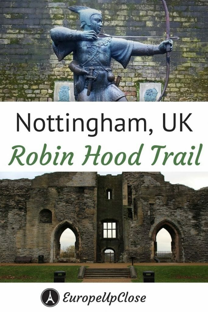 The Nottingham Robin Hood Trail takes you to all the important places related to the Robin Hood story, including the church where Robin & Marian got married and the famous Major Oak in Sherwood Forest #England #UK #Nottingham #RobinHood #Legends #stories #movielocations #Nottinghamshire #Sherwood #sherwoodforest #UnitedKingdom #filmlocations #RobinHoodfestival #Robinhoodcastle #travel #UKTravel #TravelEngland #Englanditinerary #UKItinerary #Traveltips