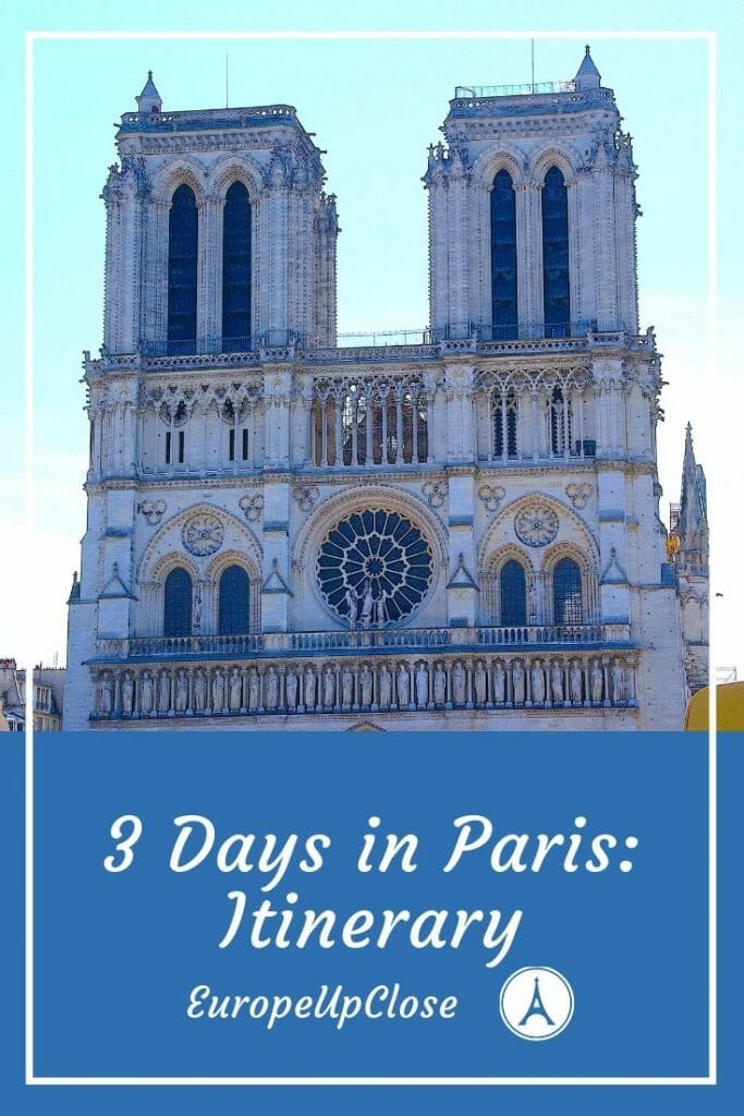 Pinterest cover of 3 Days in Paris Itinerary