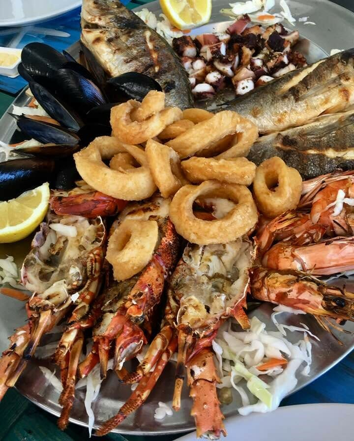 Delicious seafood platter from Mykonos
