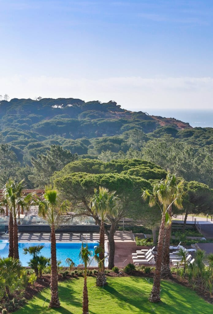 View over pool area and surrounding hills at Sana Epic Resort in Portugal