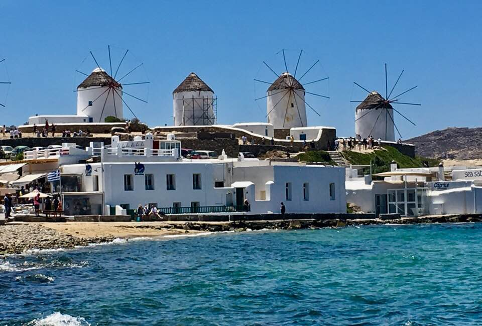 View of the Windmills in Mykonos Greece