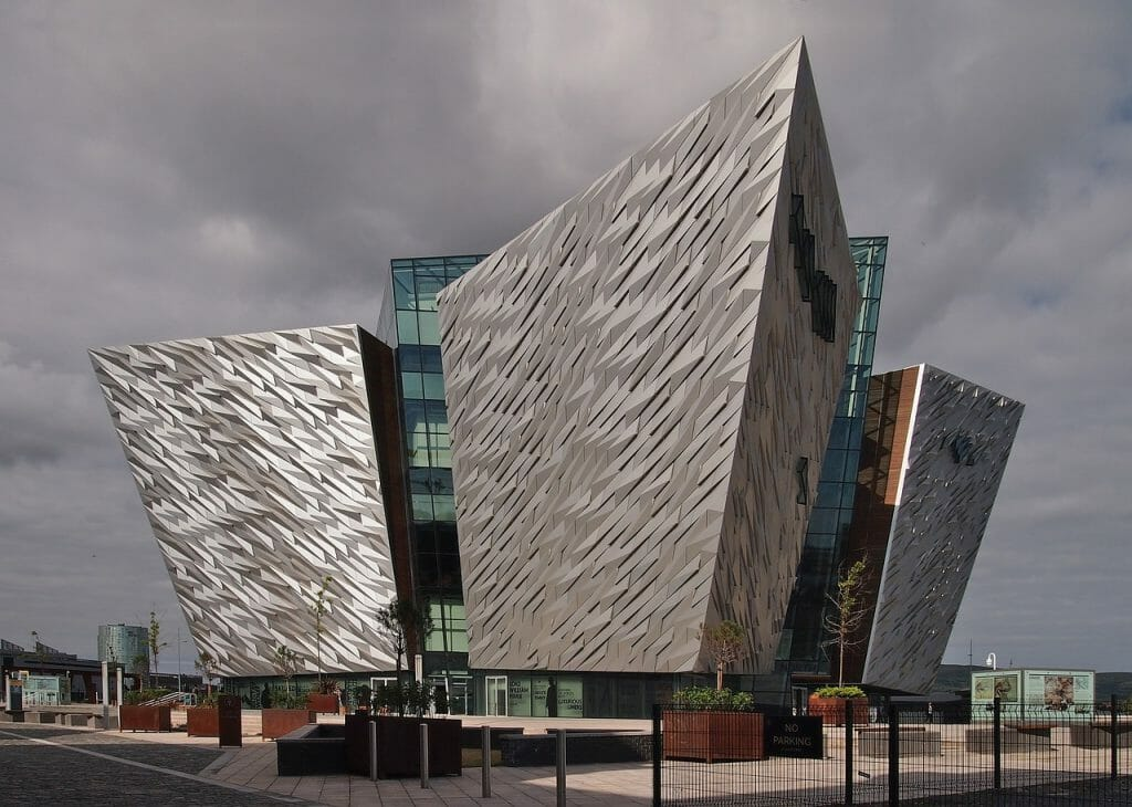 Titanic Museum in Belfast Northern Ireland from the outside - Glass/Medal building, very modern architecture