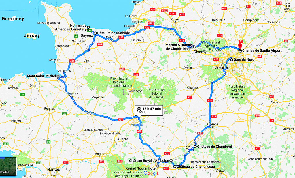 Map of France with road trip from Paris to Loire Valley to Normandy and back to Paris