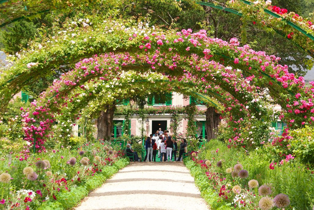 Flower Arches over walk way at the Monet Gardens in Giverny