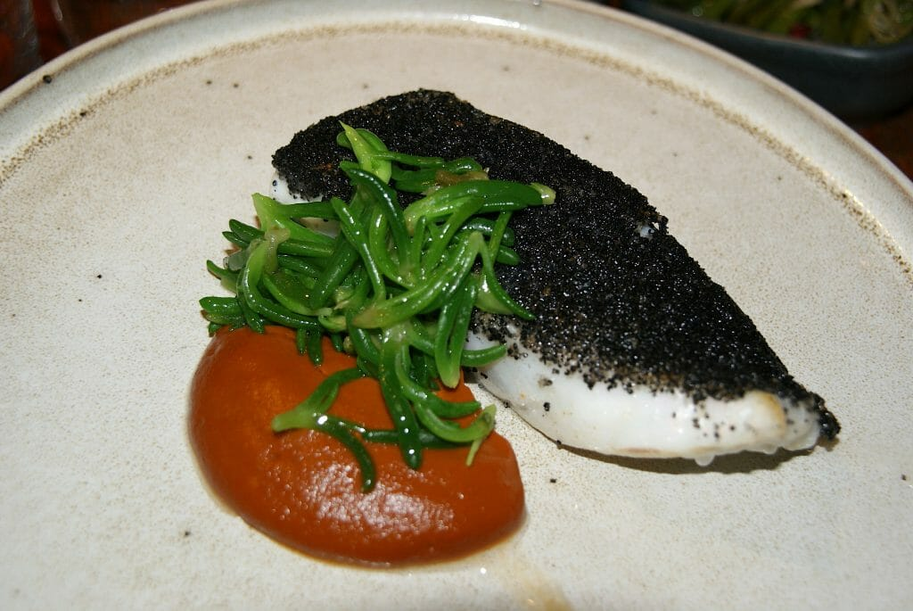 Beautiful squid ink crusted turbot