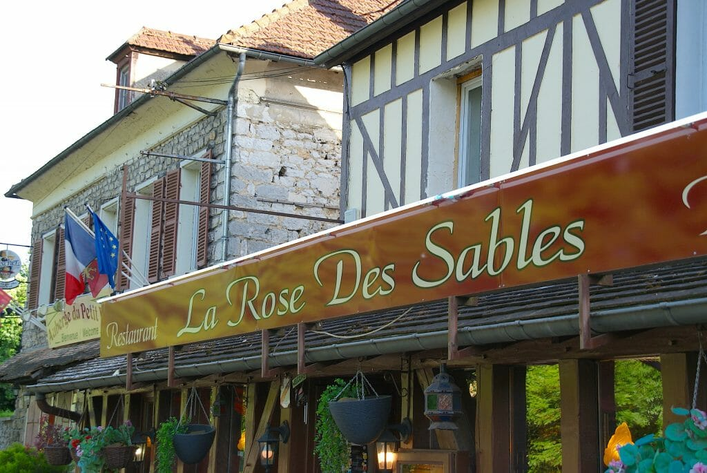 Outside of the restaurant La Rose Sables