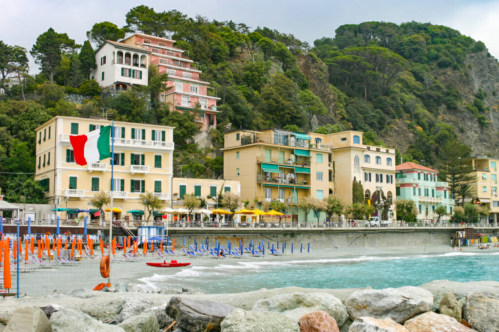 Beach chairs and umbrellas at Monterosso Al Mare beach
