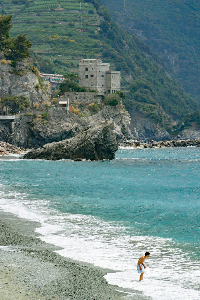 The spectacular coastline of the Ligurian Sea at Monterosso Al Mare on the Italian Riviera.