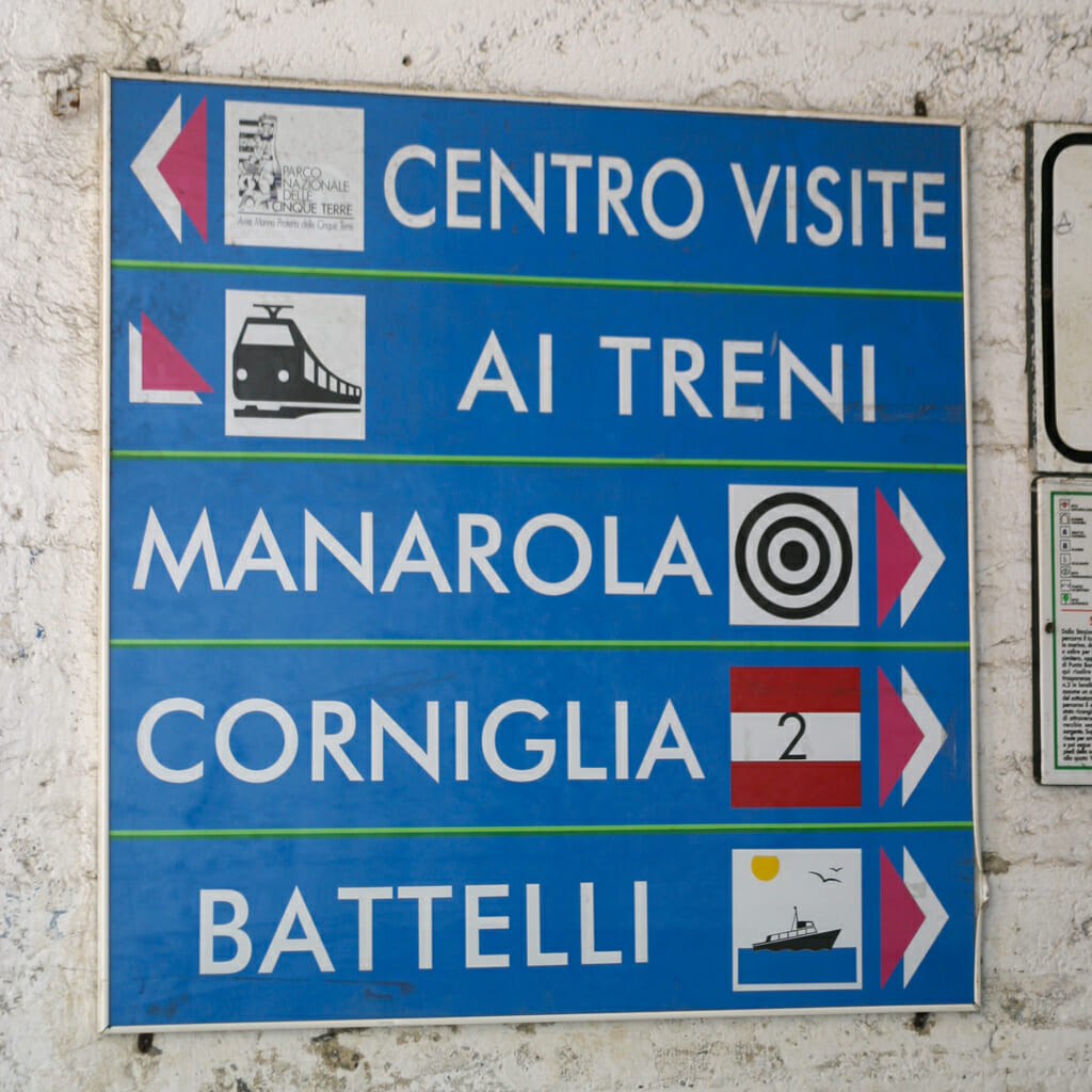 Direction signs on the coastal path in Cinque Terre