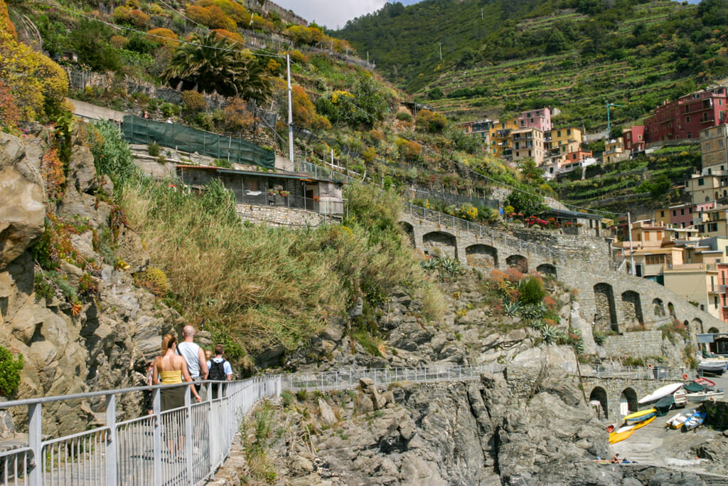People walking on the Pedestrian coastal trail into Manarola