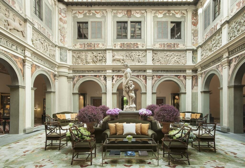 Front lobby with a gorgeous sculpture in the middle at the Four Seasons Firenze