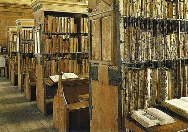 The aisles of the Hereford Cathedral library