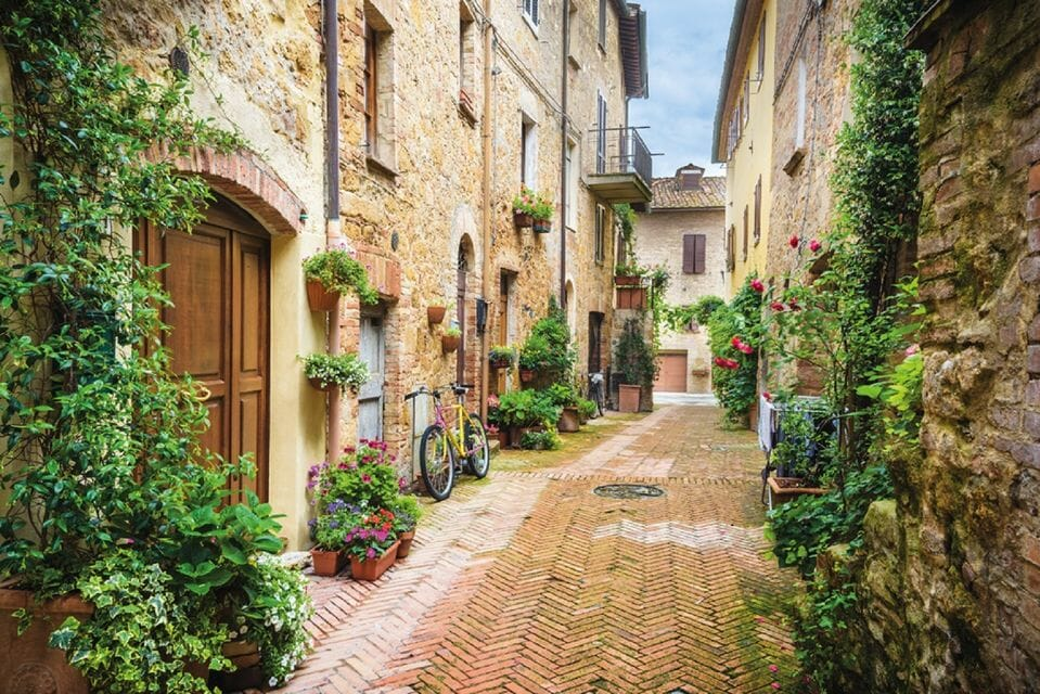 Lovely alley in Sienna with potted plants and ivy growing