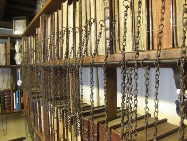 Close up of the Wimborne Minster library chained bookshelf