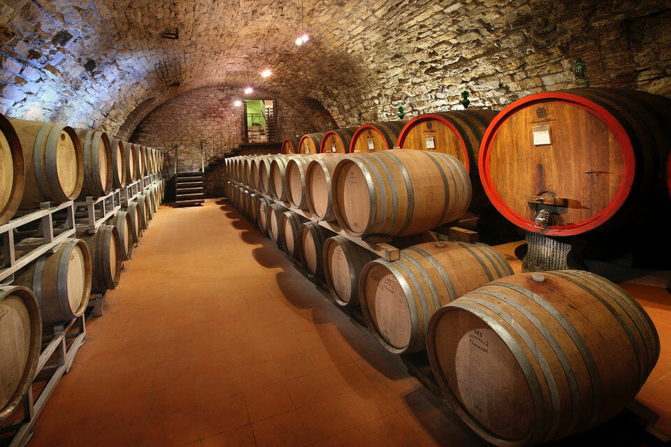 Wine barrels in a Florence wine cellar