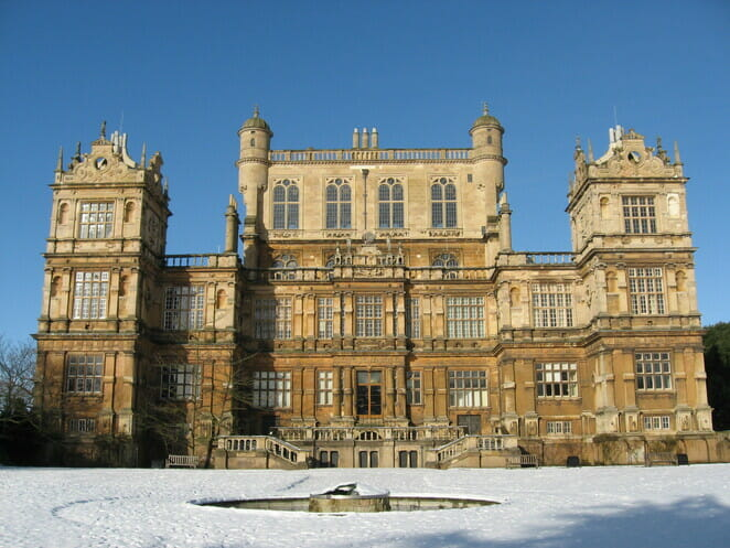 Gorgeous castle surrounded by snow on a clear winter's day in Nottingham