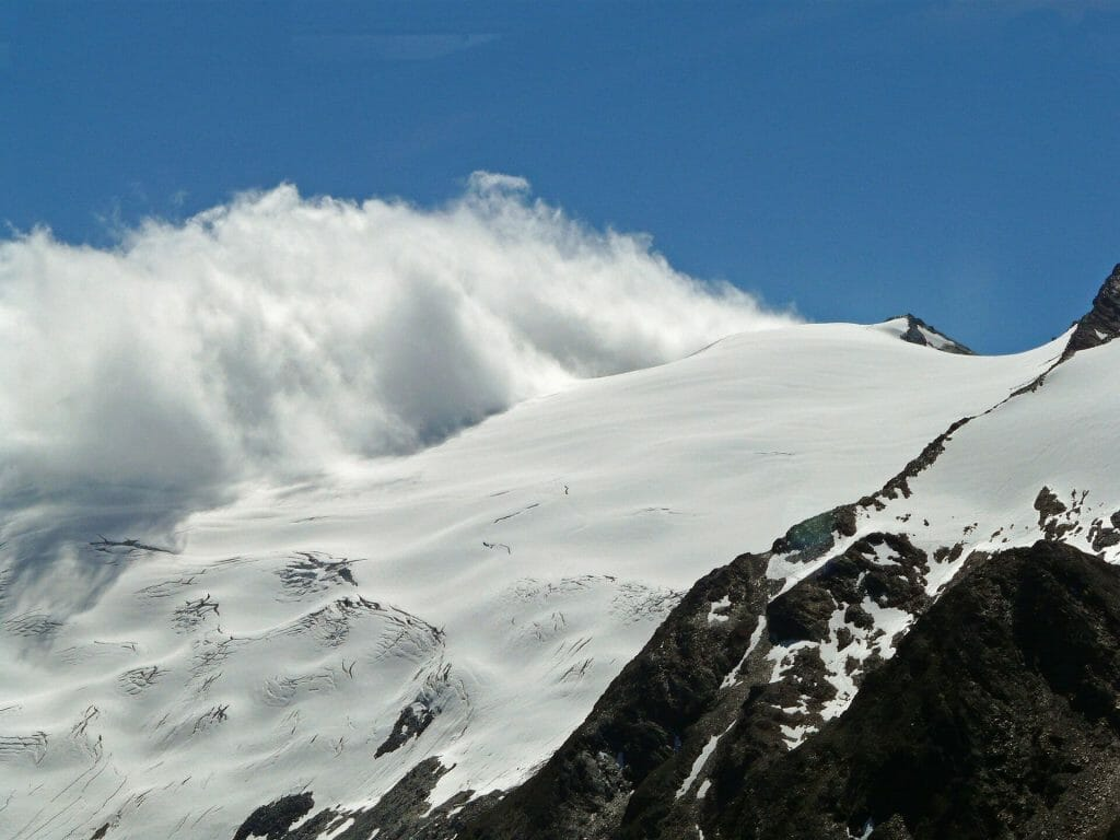 At the start of an avalanche in the mountains