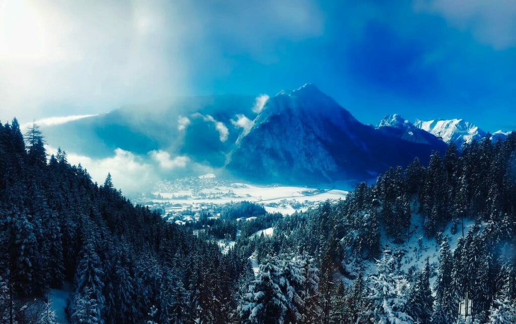 Mystical Austrian mountains in the winter
