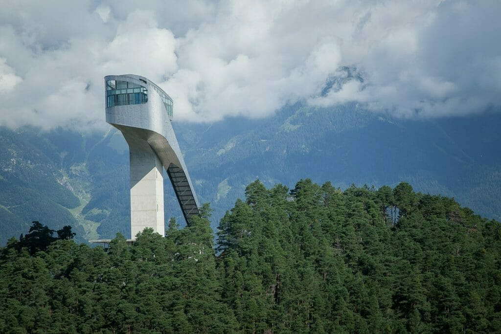 A towering ski tower in Innsbruck