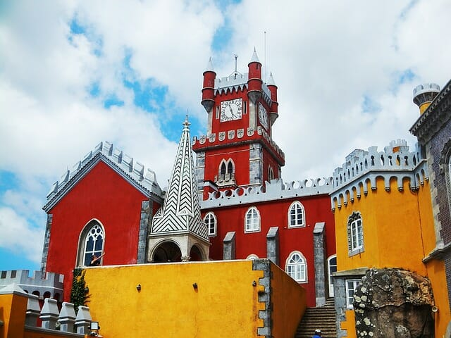 Red and yellow vibrant castle like building