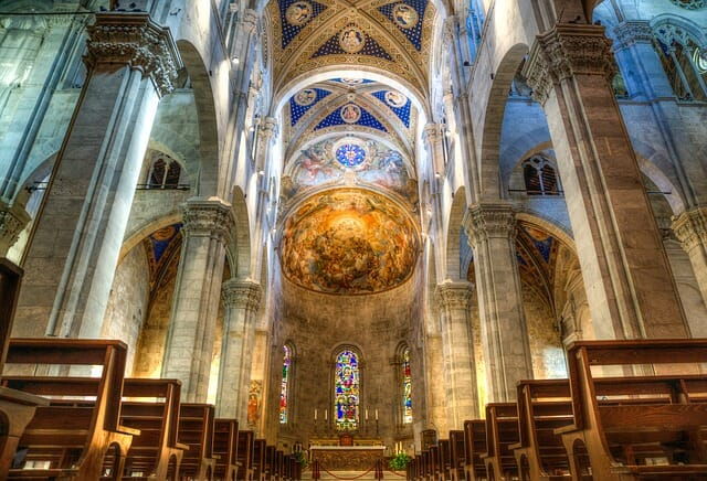 Beautifully painted Tuscan cathedral ceiling, light up gracefully