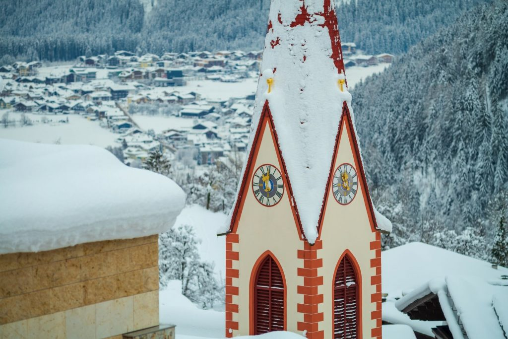 Snow dusted church in Austria