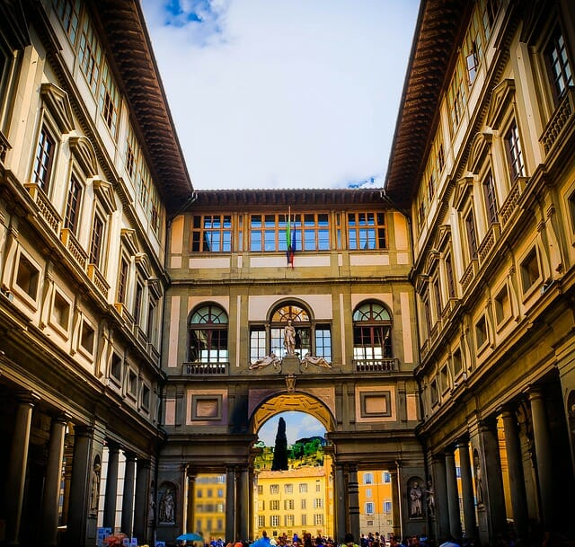 Florence architecture, soft yellow building
